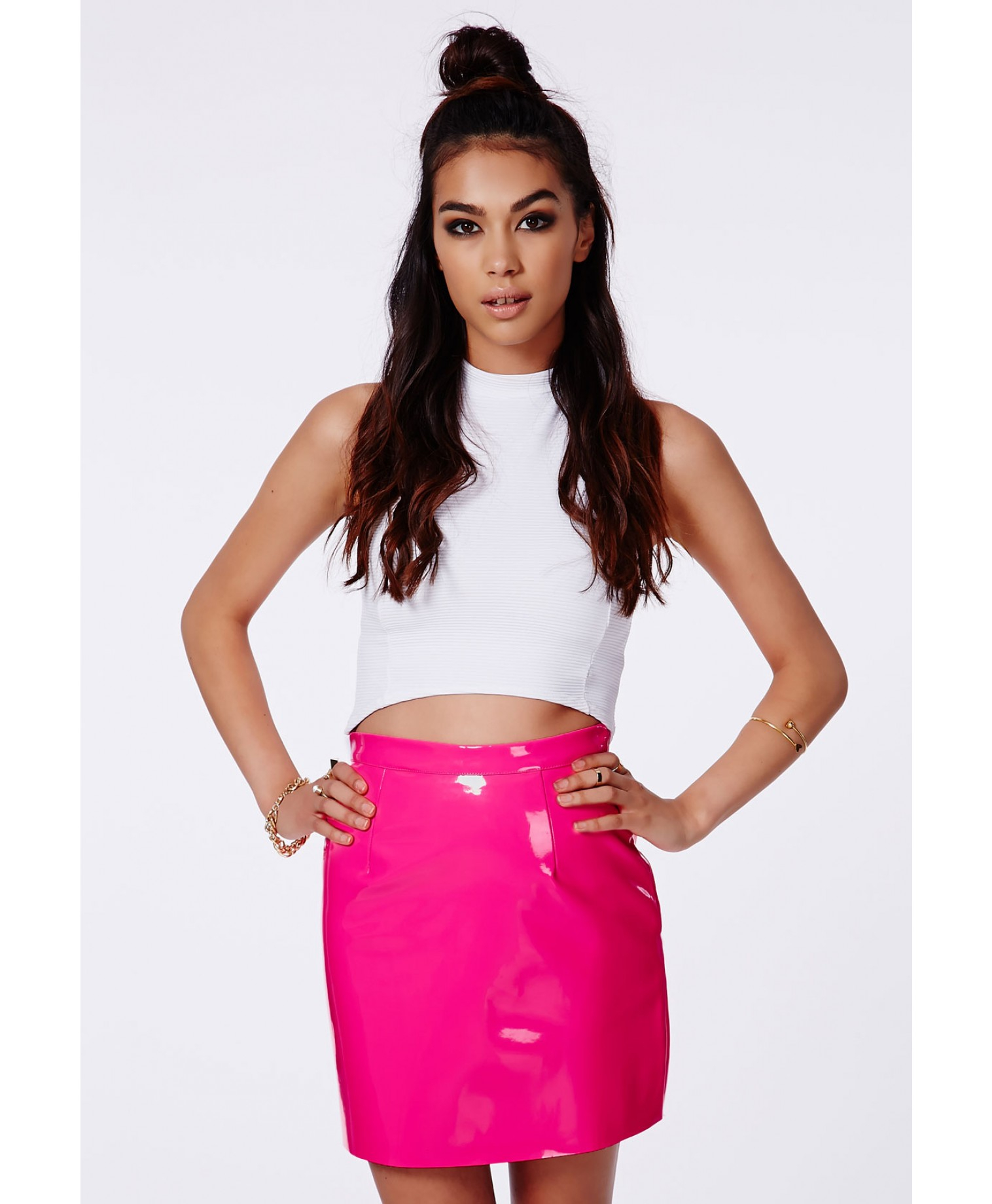 Missguided Nagsia Neon Pink Pvc Mini Skirt in Pink | Lyst
