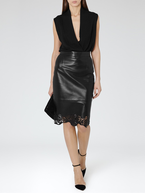 reiss hiro laser cut leather skirt in black lyst