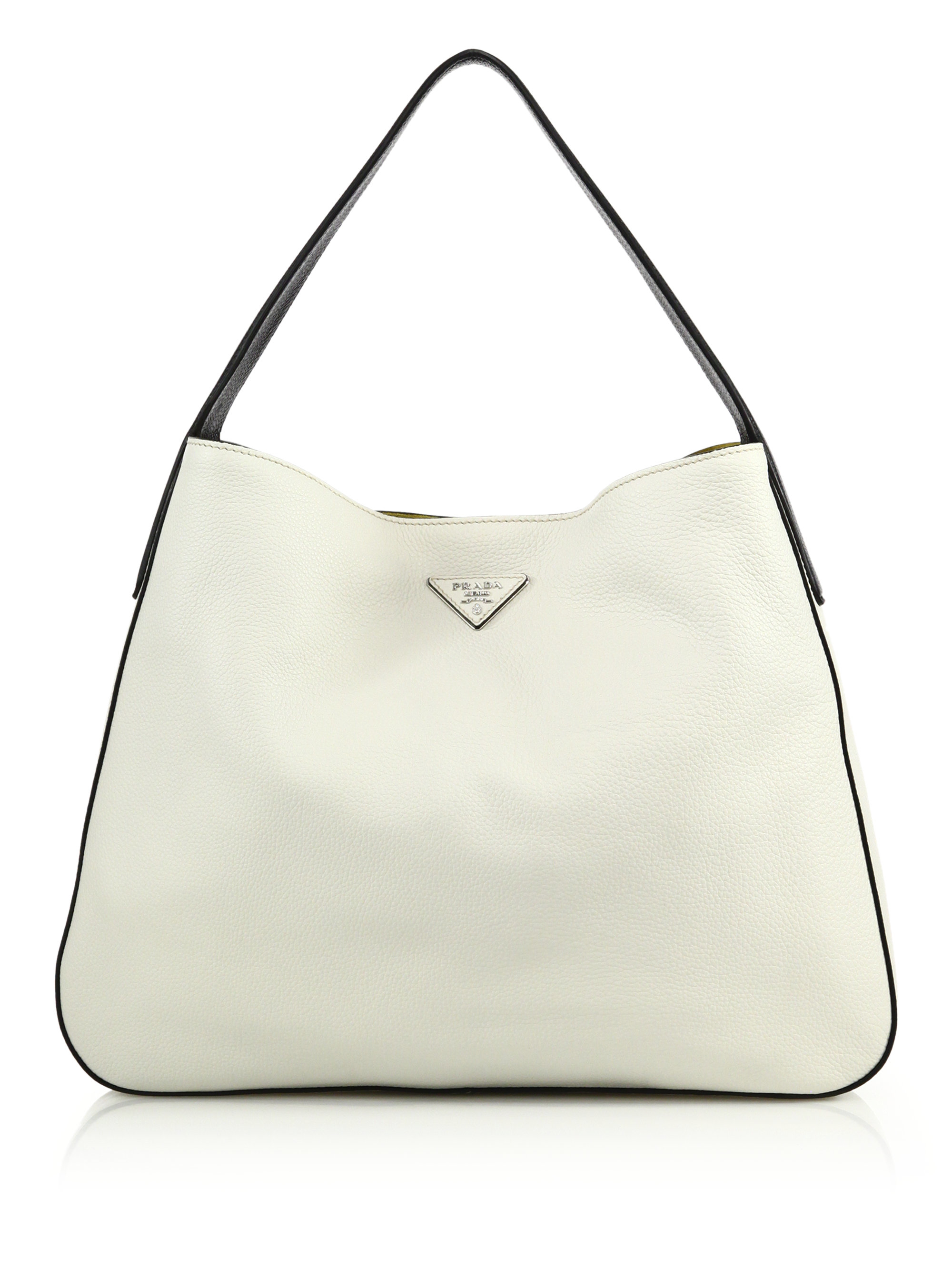 14da438be7 ... new zealand lyst prada daino bicolor hobo bag in white f06ba 50c78