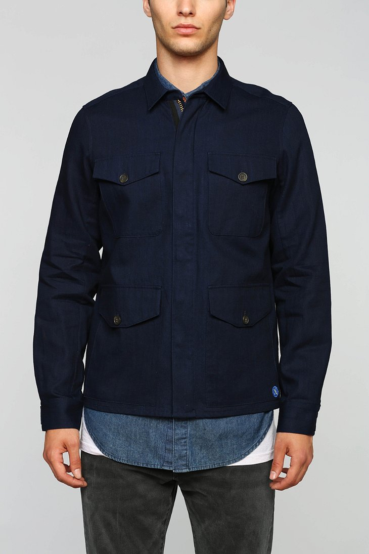 Vanishing elephant Military Shirt Jacket in Blue for Men | Lyst