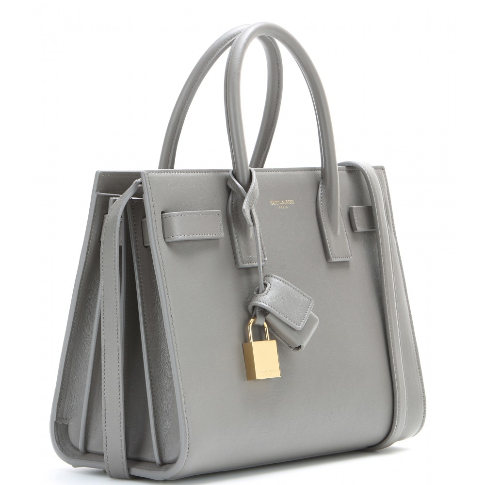 Saint Laurent Sac De Jour Baby Leather Tote in Gray - Lyst 4e56a01cf9e85