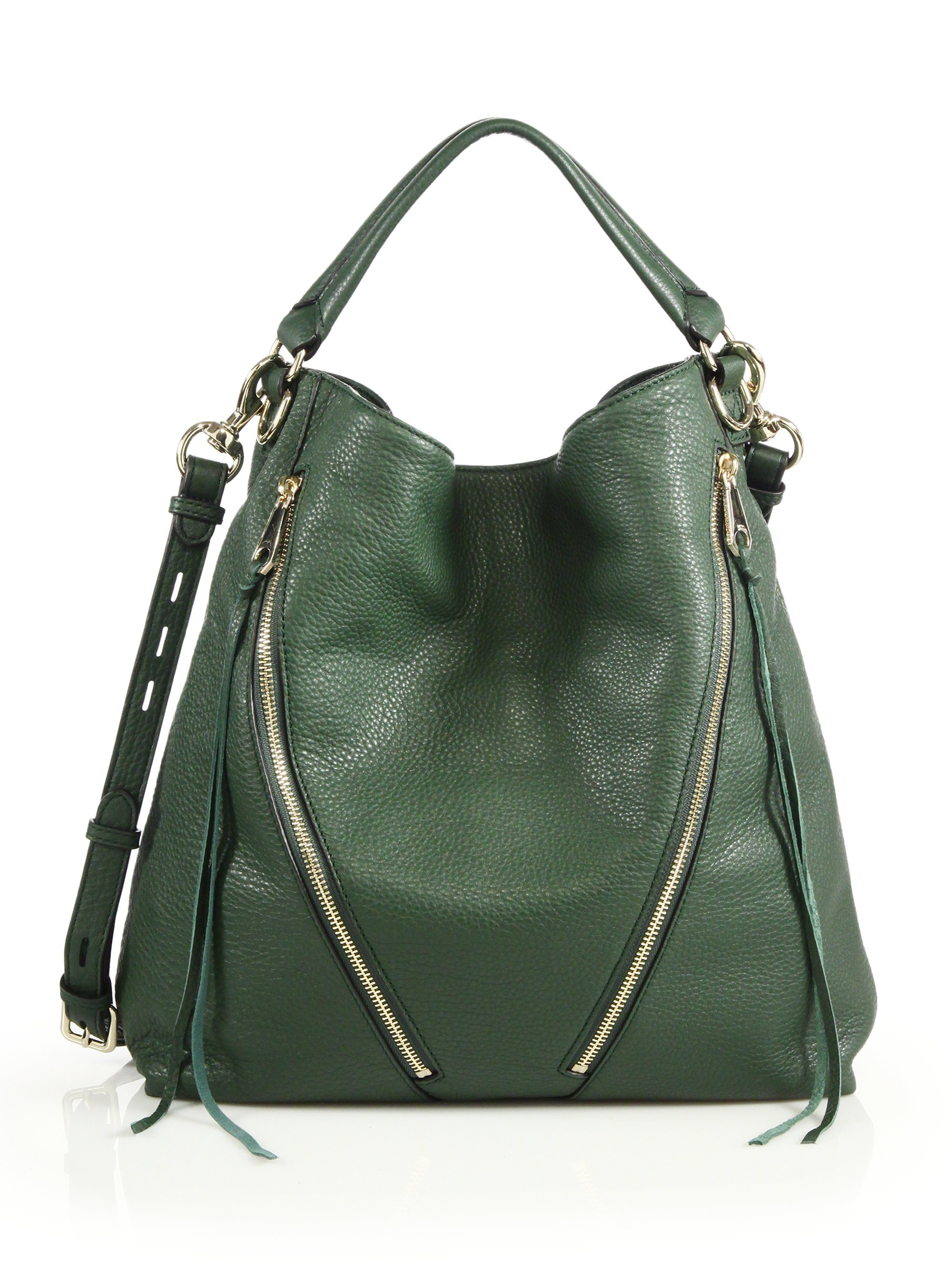 Lyst - Rebecca Minkoff Moto Leather Hobo Bag in Green ac2e01e02ba4