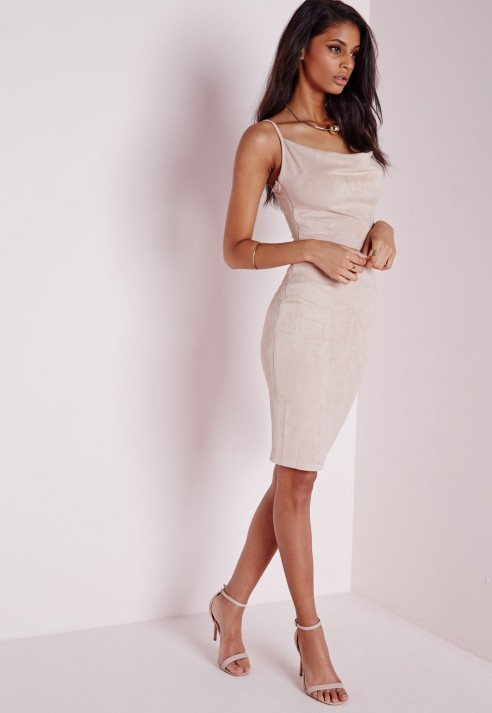 Missguided Nude Faux Suede Cold Shoulder Drape Dress at £8