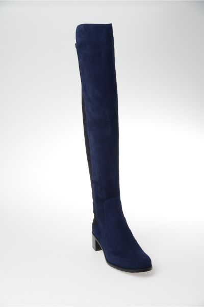 stuart weitzman high suede boots with stretch bootleg in