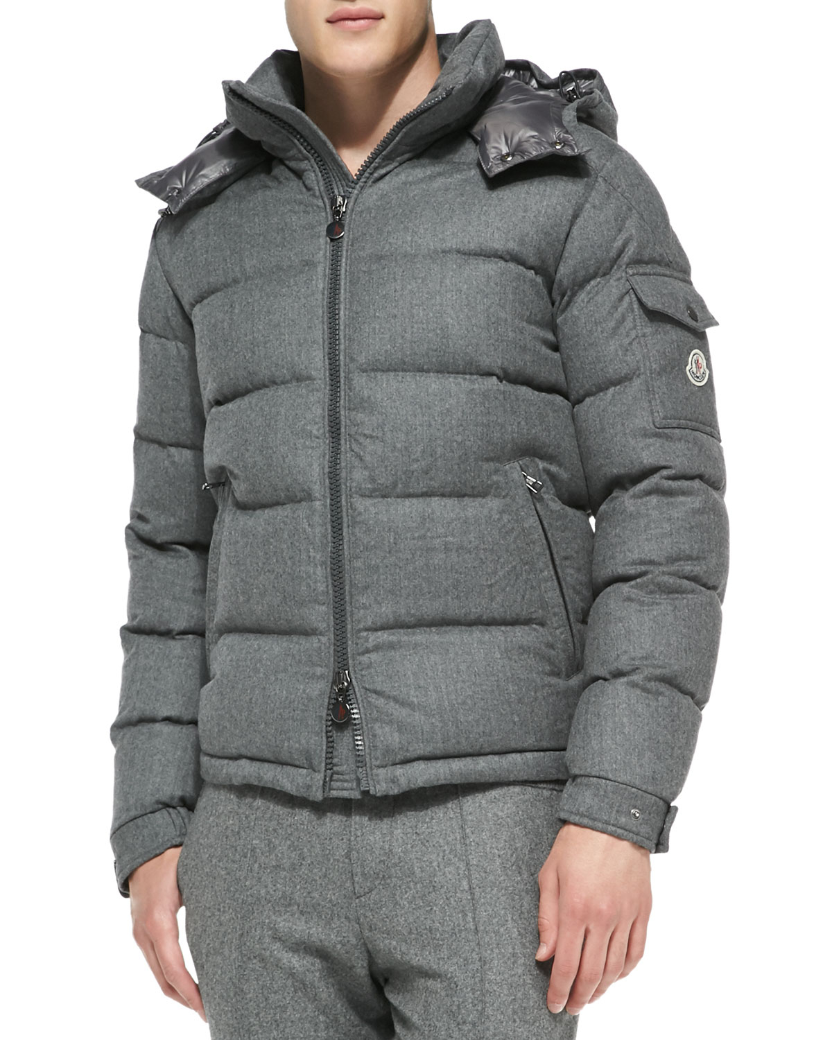Moncler Mont Genevre Quilted Wool Jacket in Gray for Men ...