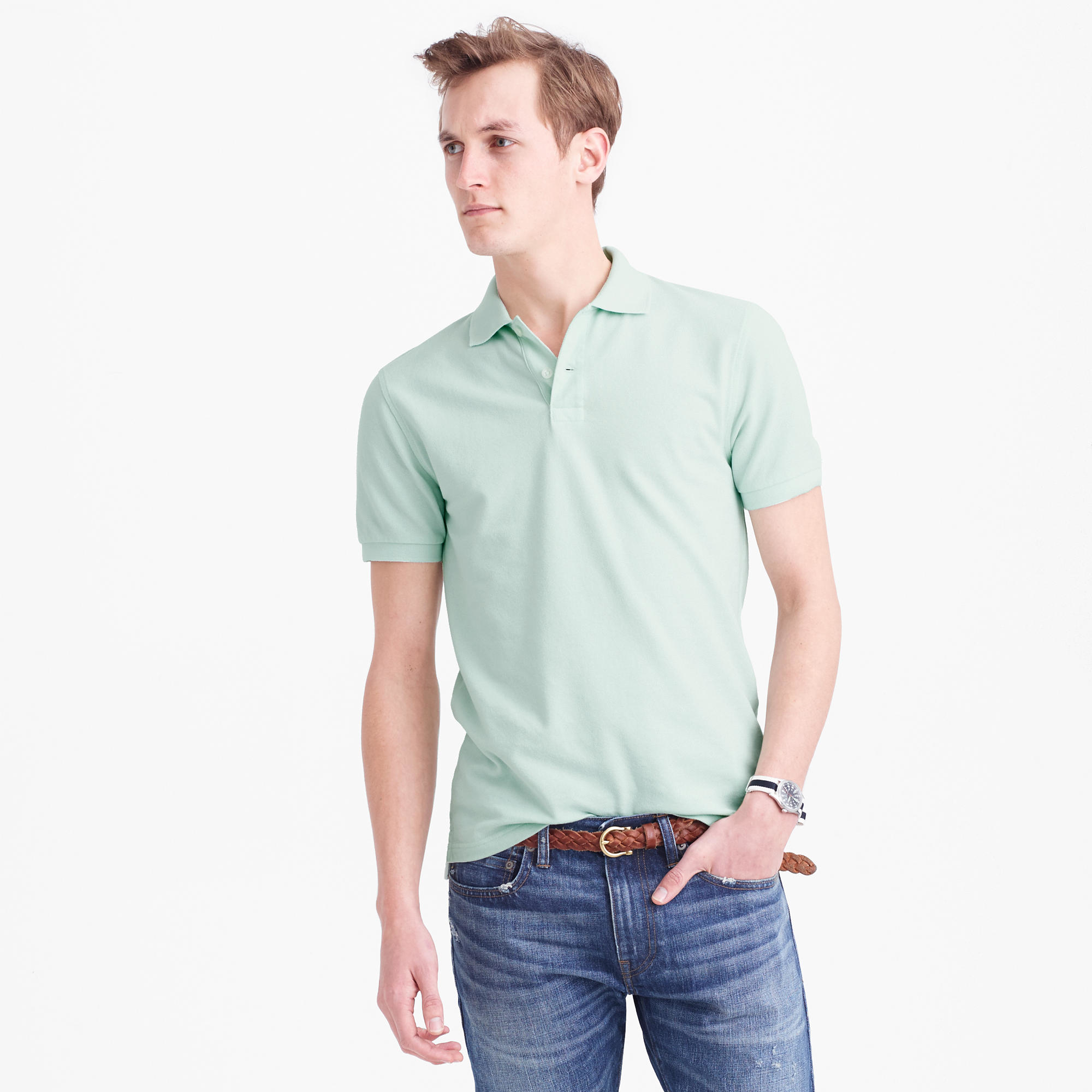 Slim classic piqu polo shirt in green for men lyst for Mint color polo shirt
