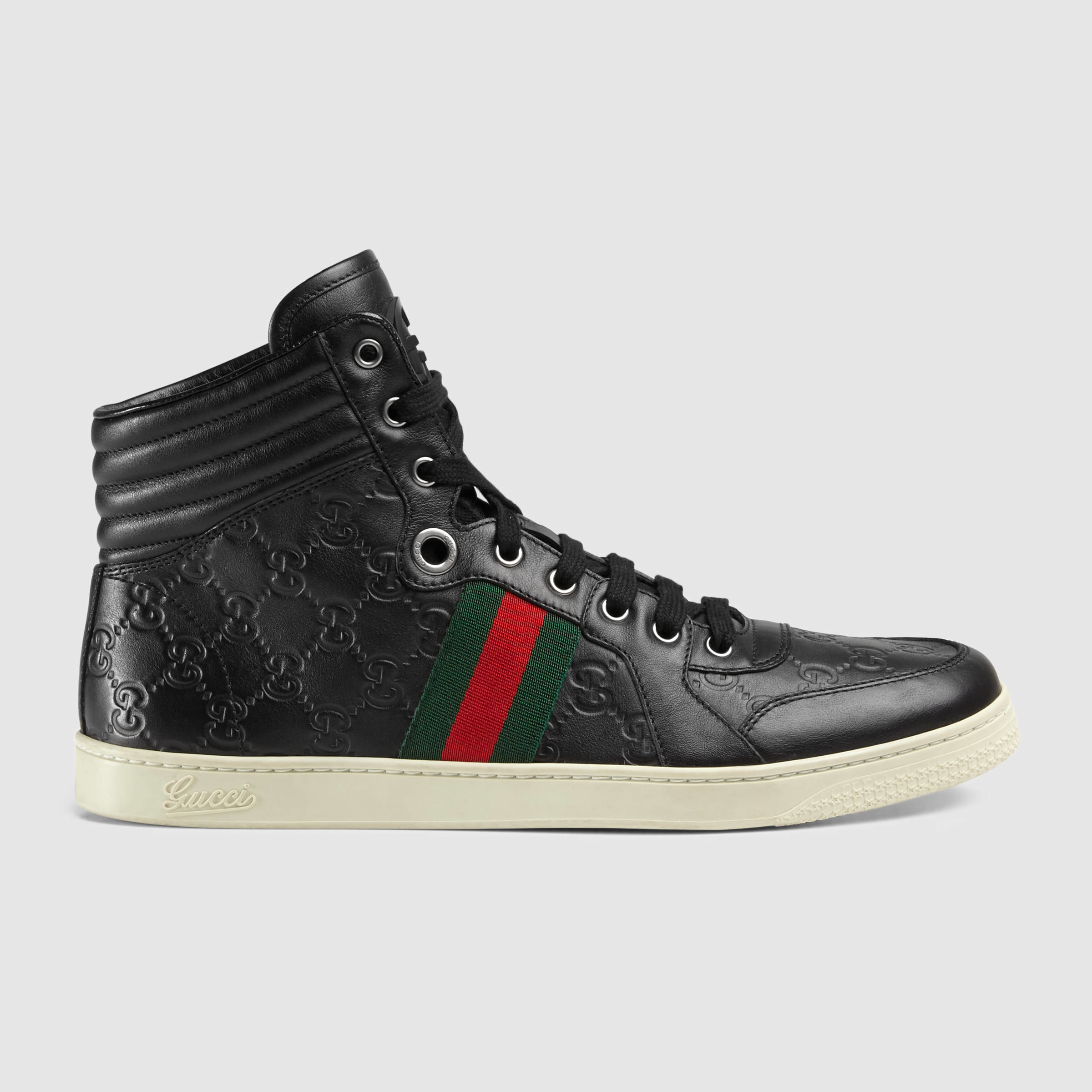 gucci ssima leather high top sneaker in black for men lyst. Black Bedroom Furniture Sets. Home Design Ideas