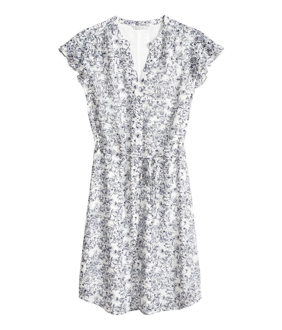 bbd612aadfa7 H&M Dress With Butterfly Sleeves in Blue - Lyst