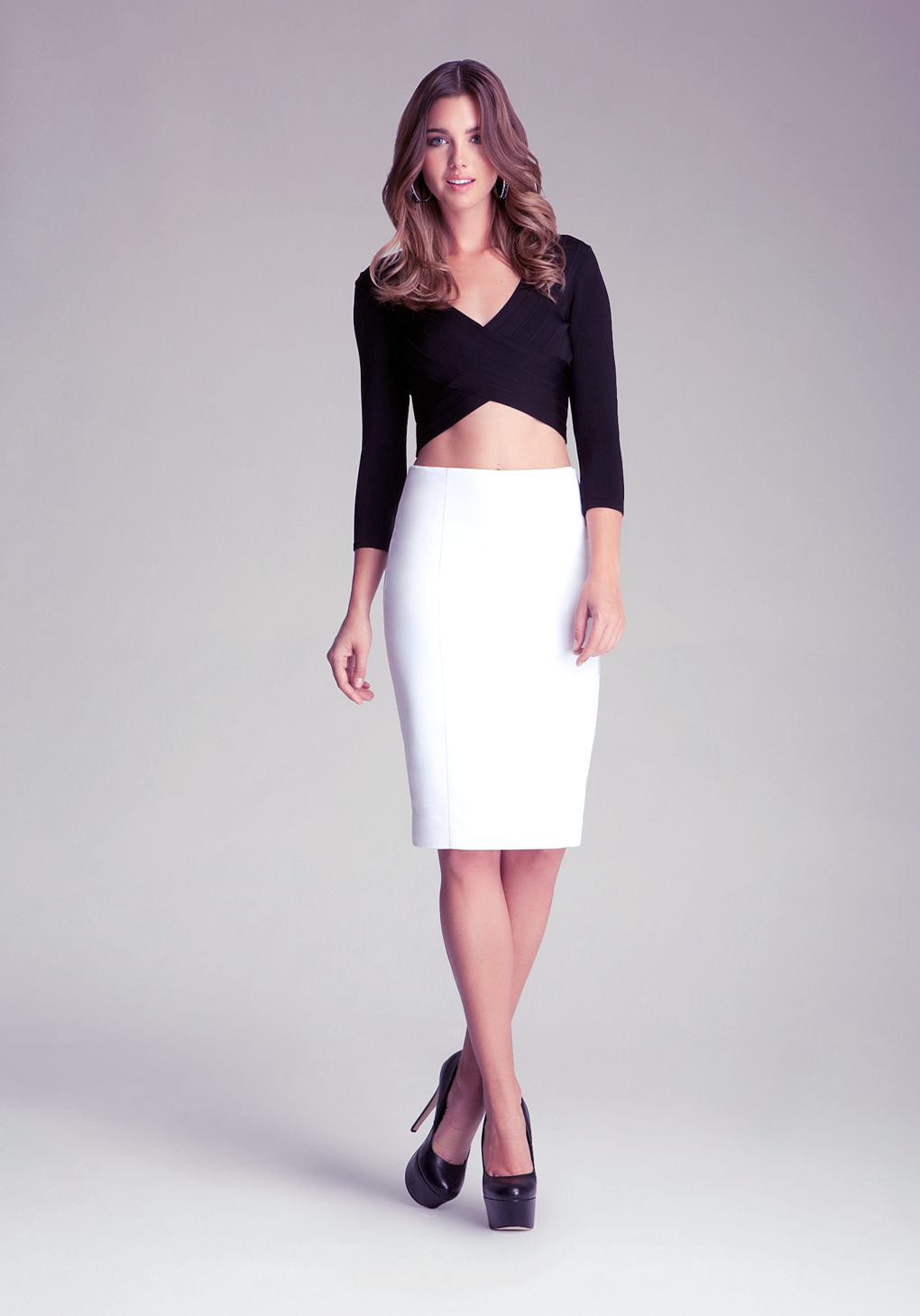 Lyst Bebe Zipper Pencil Skirt In White