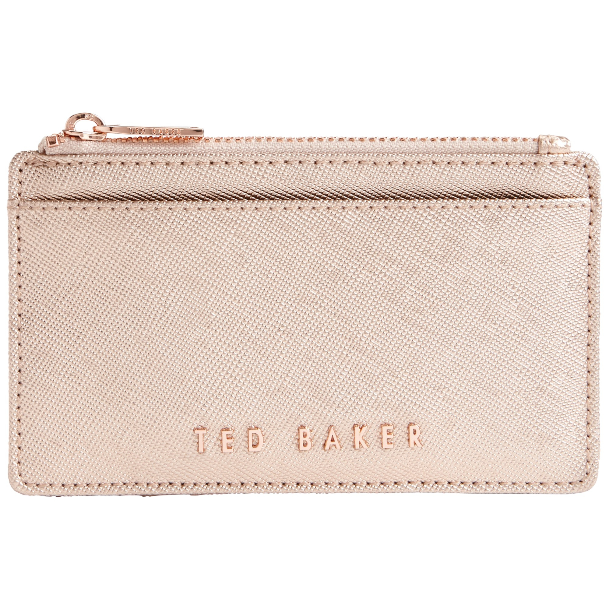 c281cd55f8 Ted Baker Crosshatch Leather Metallic Coin Purse In Pink Lyst