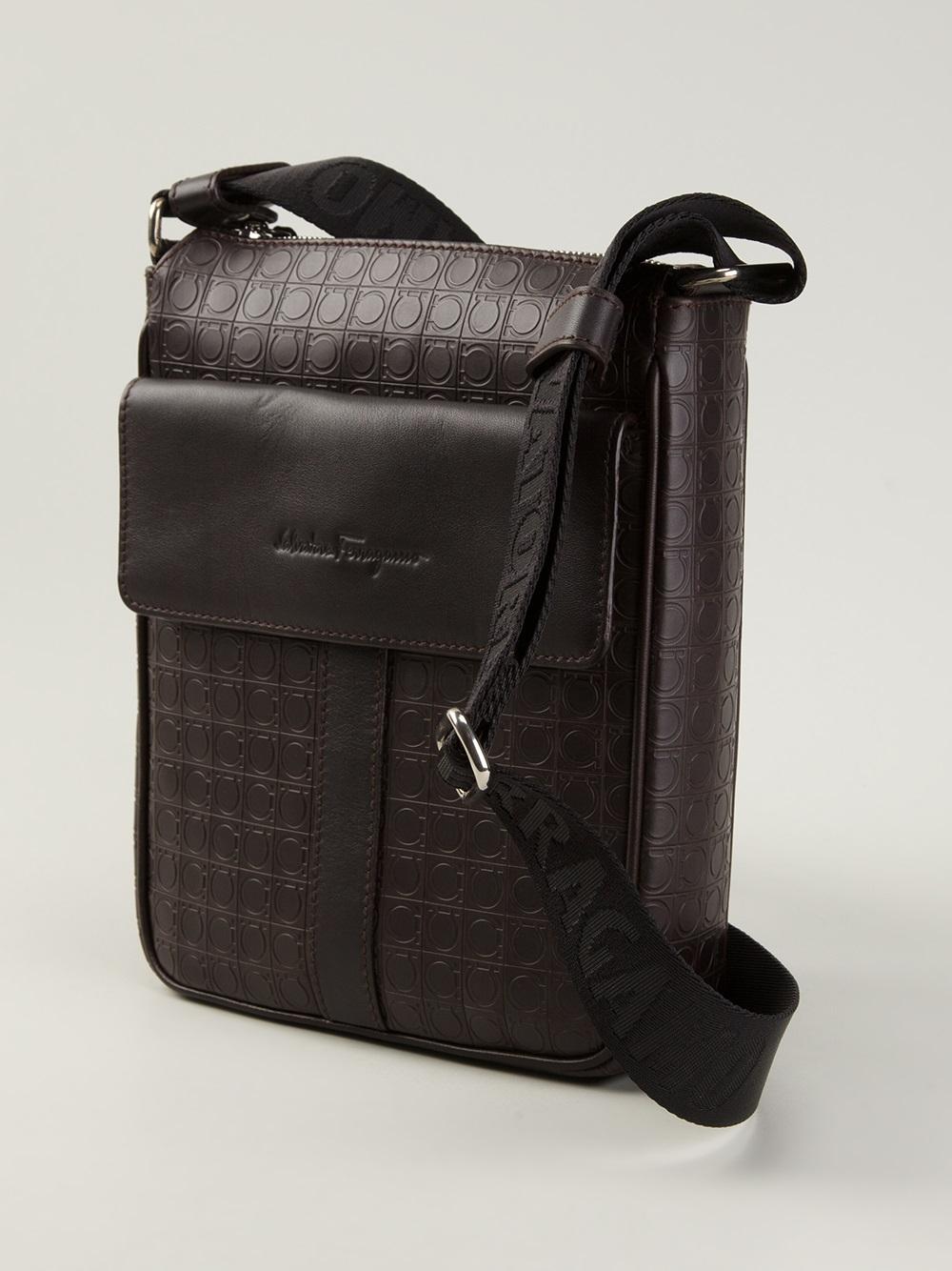 f10b12c3f6 Lyst - Ferragamo Logo Embossed Messenger Bag in Brown for Men
