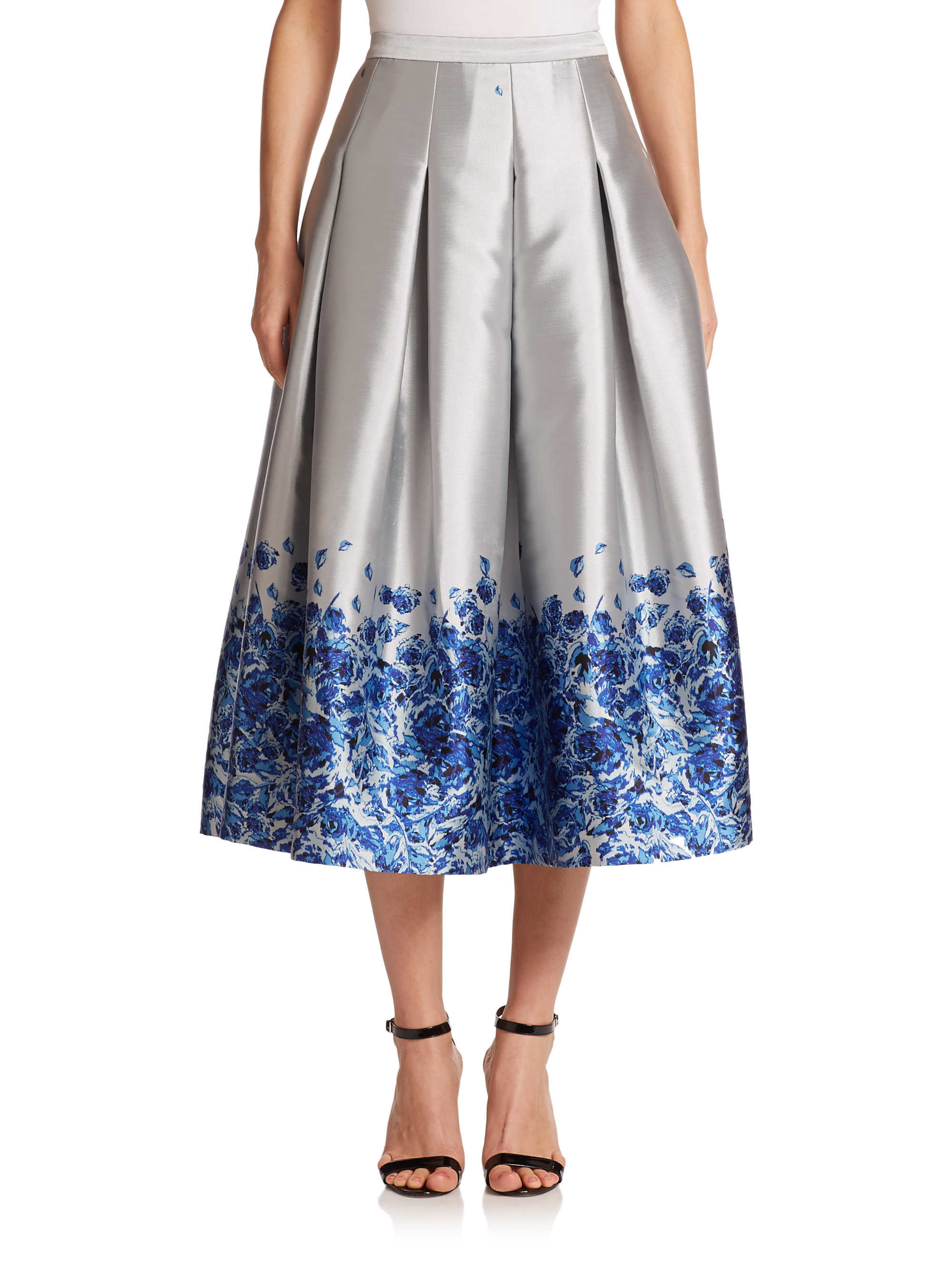 sachin babi confetti floral satin midi skirt in blue lyst