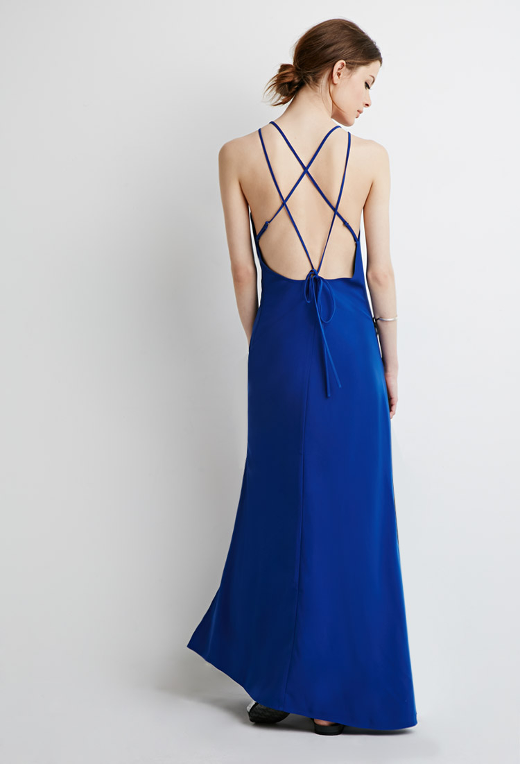 Lyst Forever 21 Strappy Halter Maxi Dress In Blue