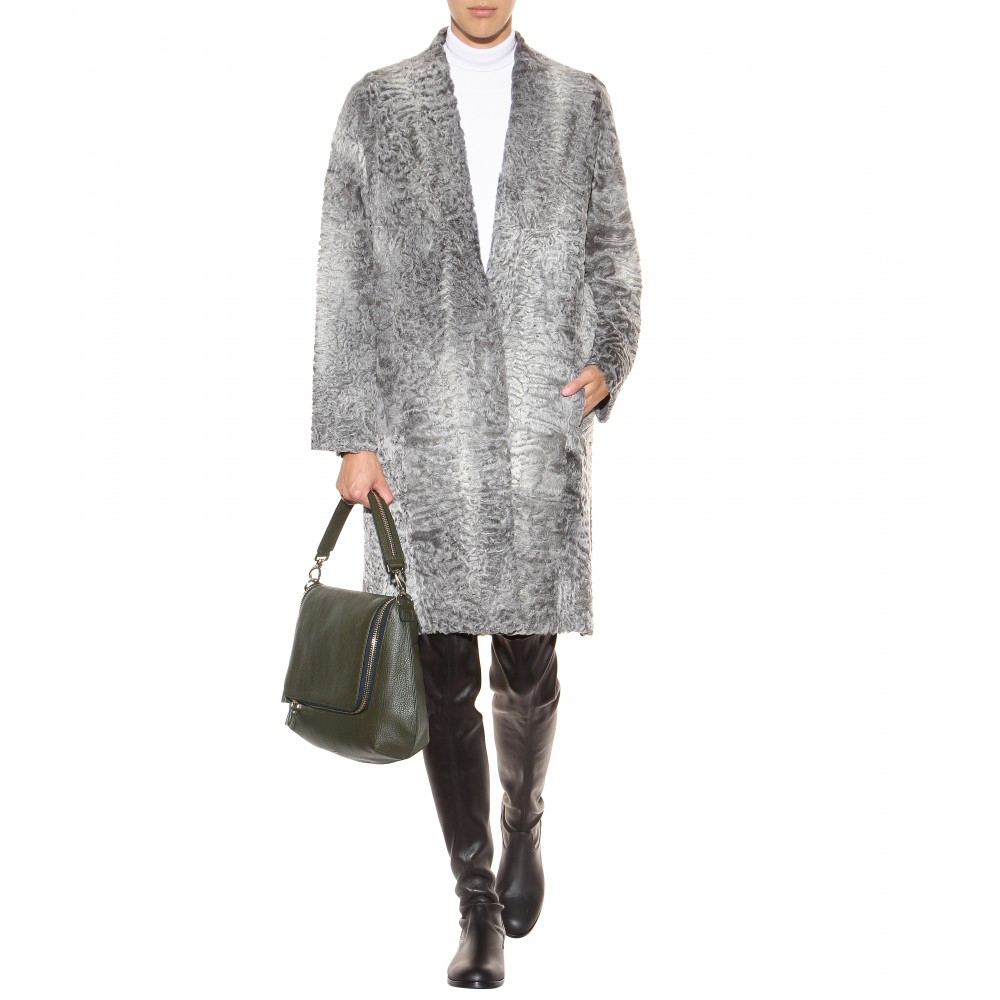 Inès & maréchal Sheepskin Coat in Gray | Lyst