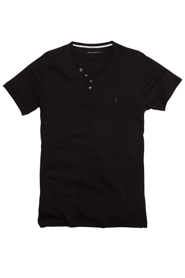 French Connection Henleys V Neck T Shirt In Black For Men