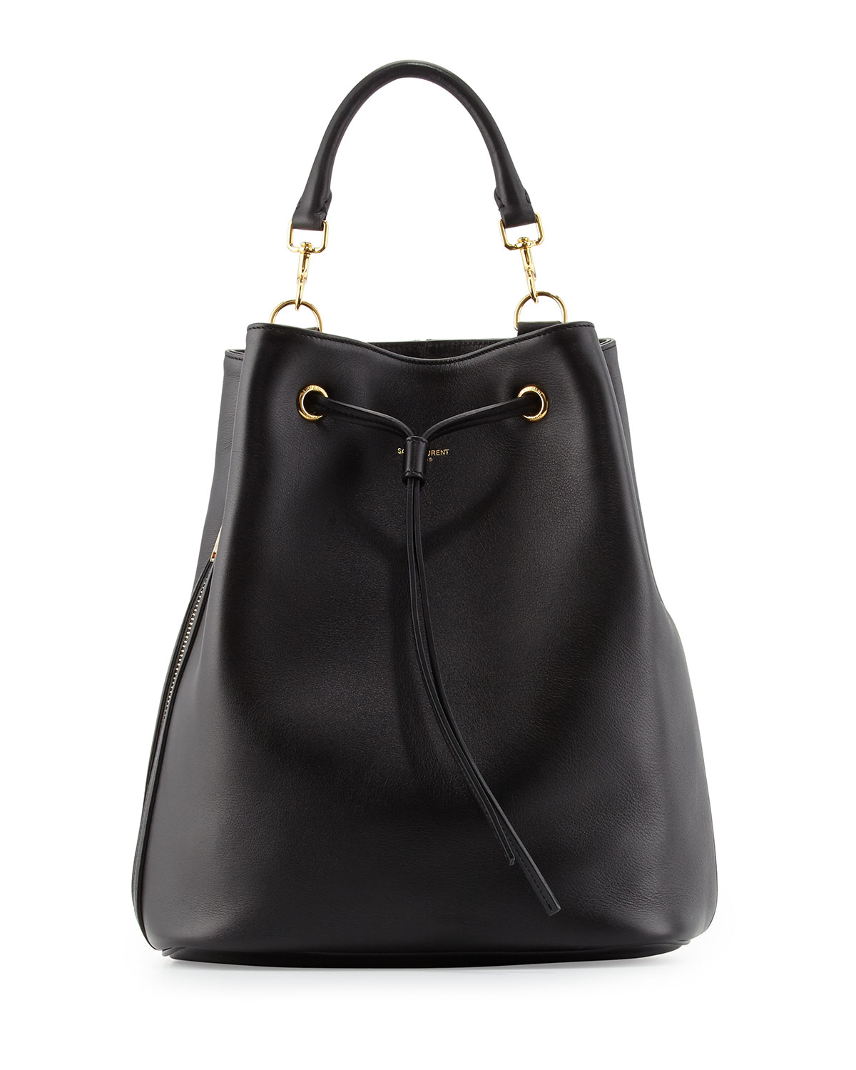 Saint laurent Leather Medium Drawstring Backpack in Black | Lyst