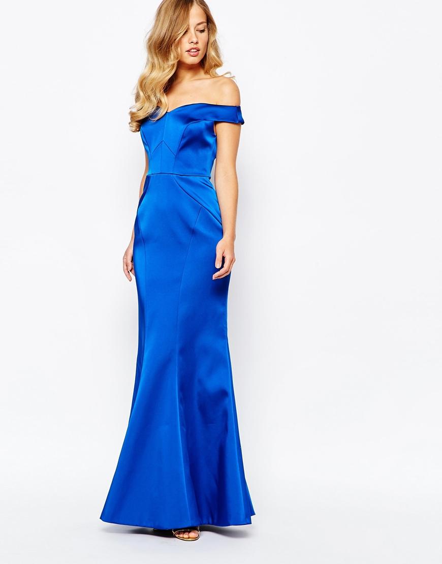 Coast Sapphire Slash Neck Satin Maxi Dress in Blue - Lyst
