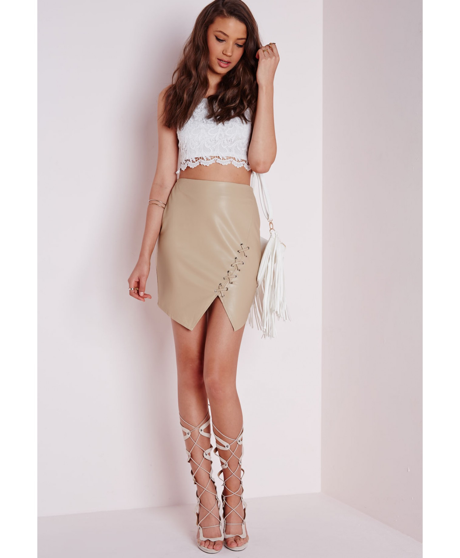 Missguided Lace Up Faux Leather Mini Skirt Tan in Brown | Lyst