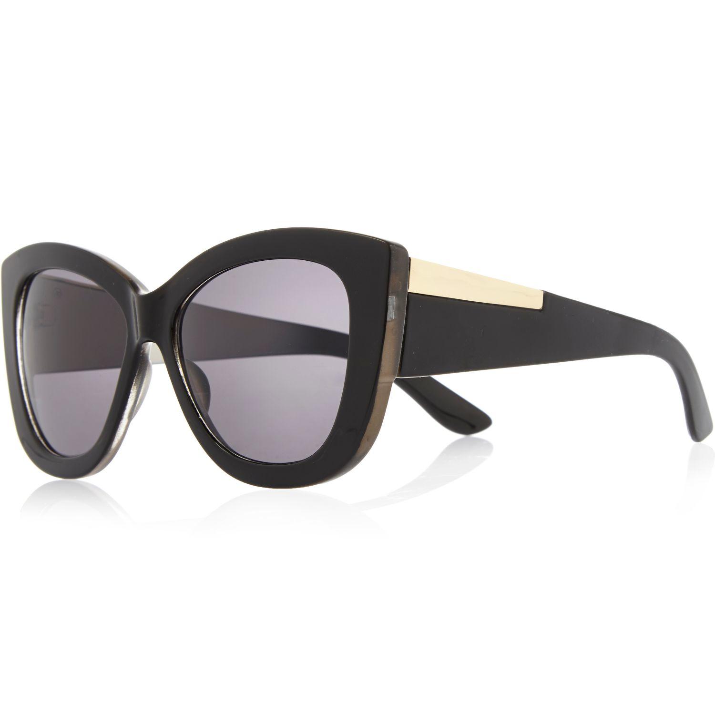 366ba17a295f River Island Black Chunky Cat Eye Sunglasses in Black - Lyst