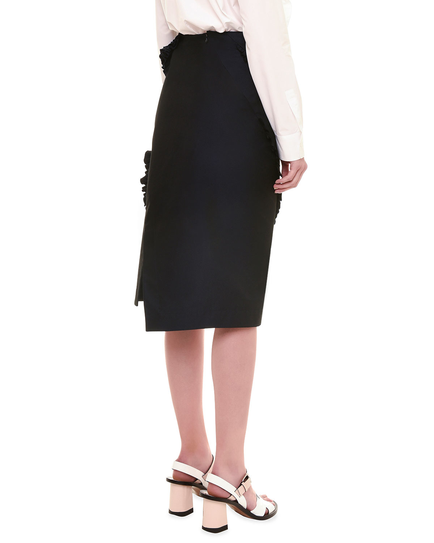 jil sander radzimir pencil skirt w ruffle detail in black