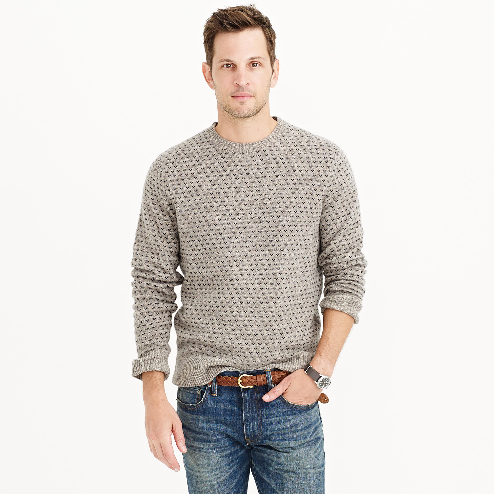 821d6d904 Lyst - J.Crew Lambswool Jacquard Sweater in Gray for Men