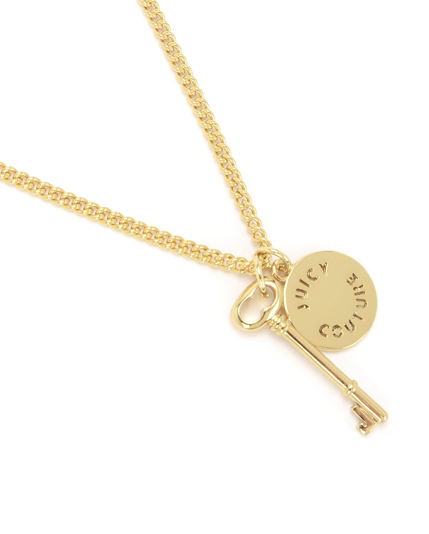 Juicy couture key and disc wish necklace in metallic lyst for Juicy couture jewelry necklace