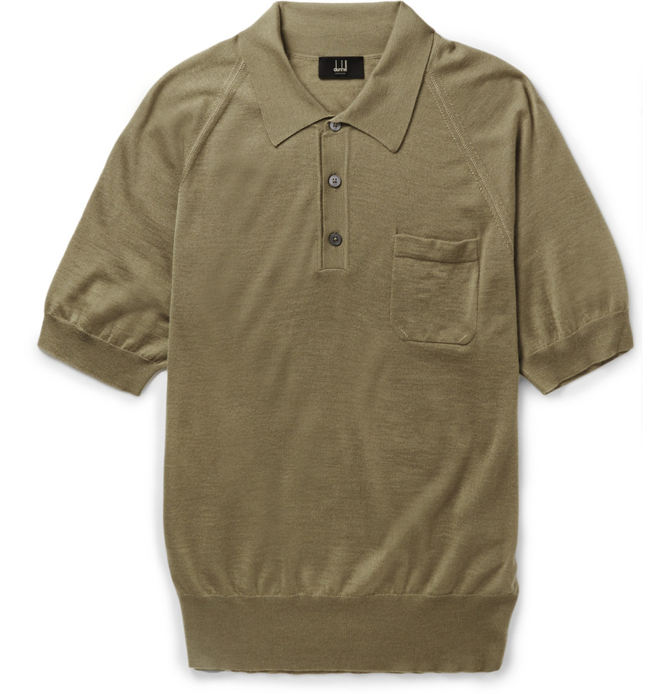 Dunhill Cashmere And Mulberry Silk Blend Polo Shirt In