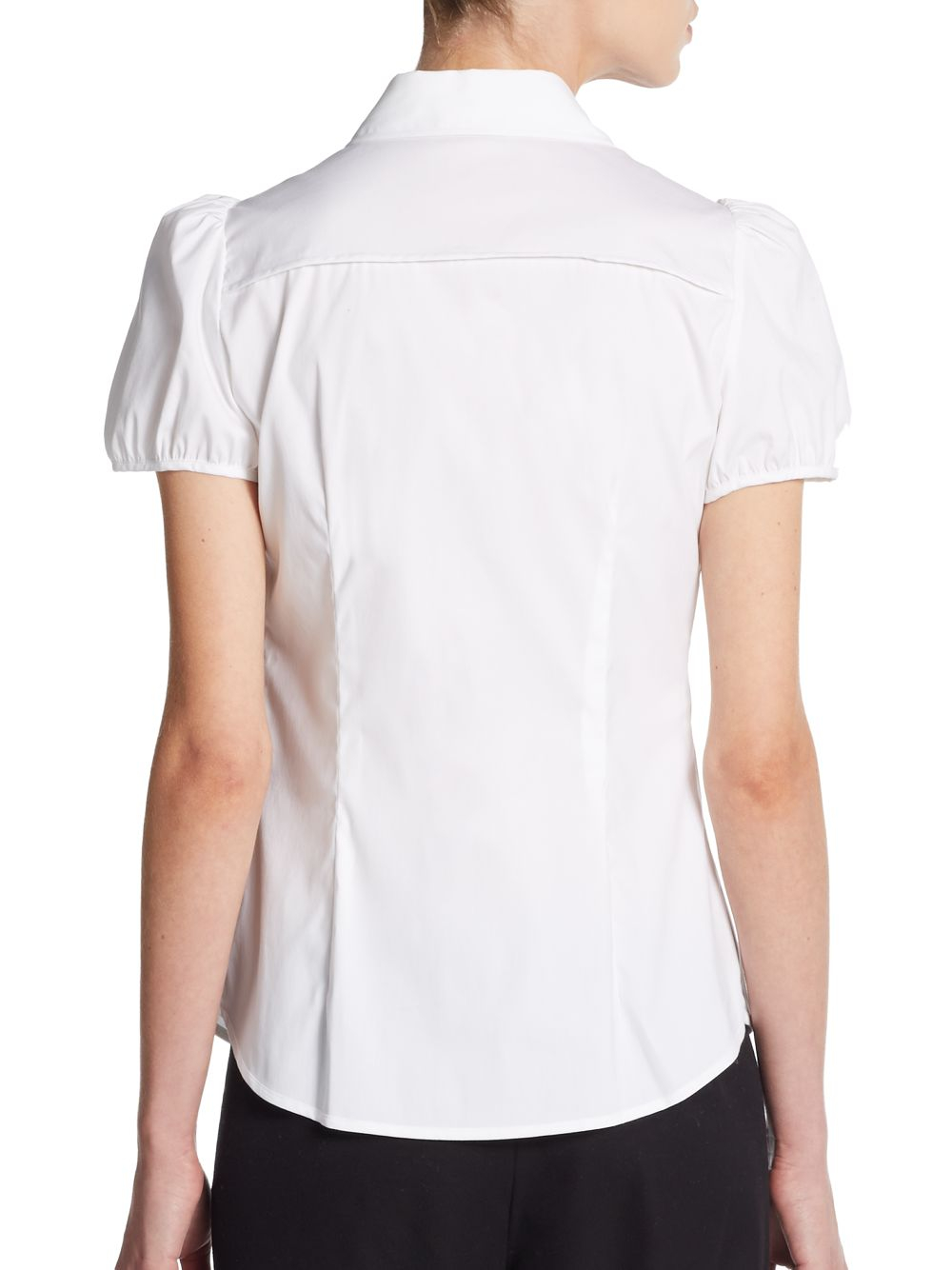 Lyst Red Valentino Puff Sleeve Peter Pan Collar Blouse In White