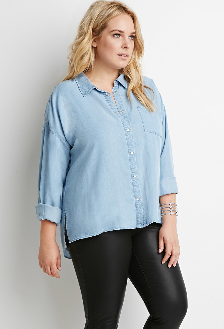 Lyst forever 21 plus size pearlescent button chambray for Plus size light blue shirt