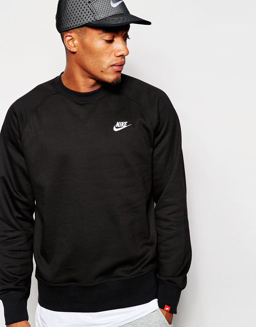 nike aw77 sweatshirt 598701 013 in black for men lyst. Black Bedroom Furniture Sets. Home Design Ideas