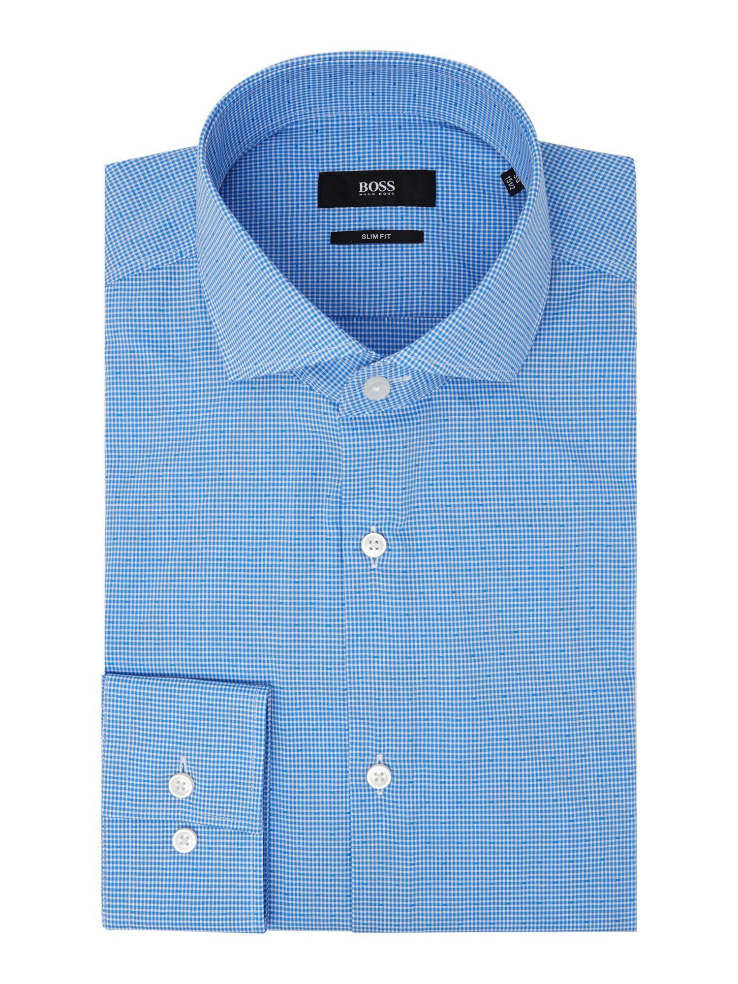 Boss jason check slim fit long sleeve shirt in blue for for Hugo boss jason shirt
