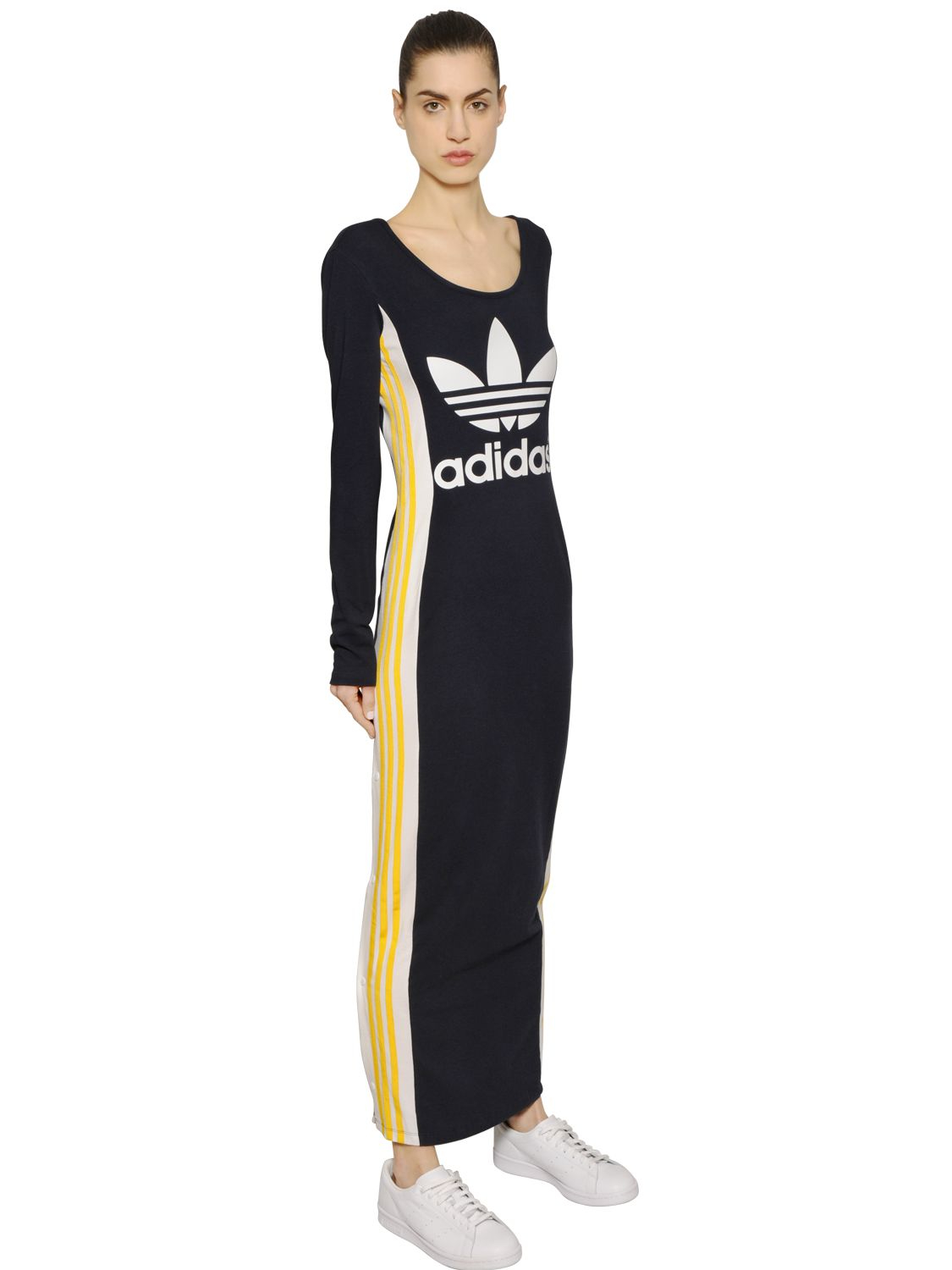 good 0a82f b2cbe adidas Originals Cosmic Confession Cotton Jersey Dress in Blue - Lyst