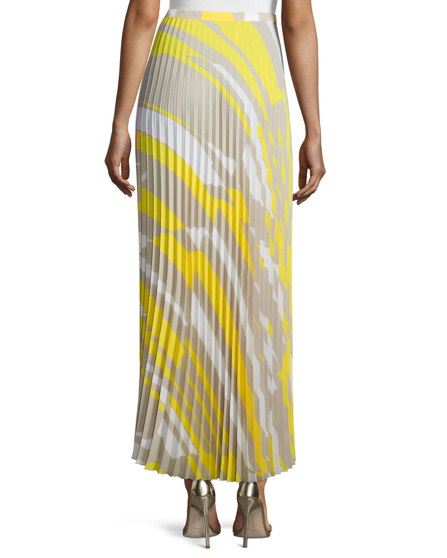 max mara accordion pleated crepe de chine skirt in white