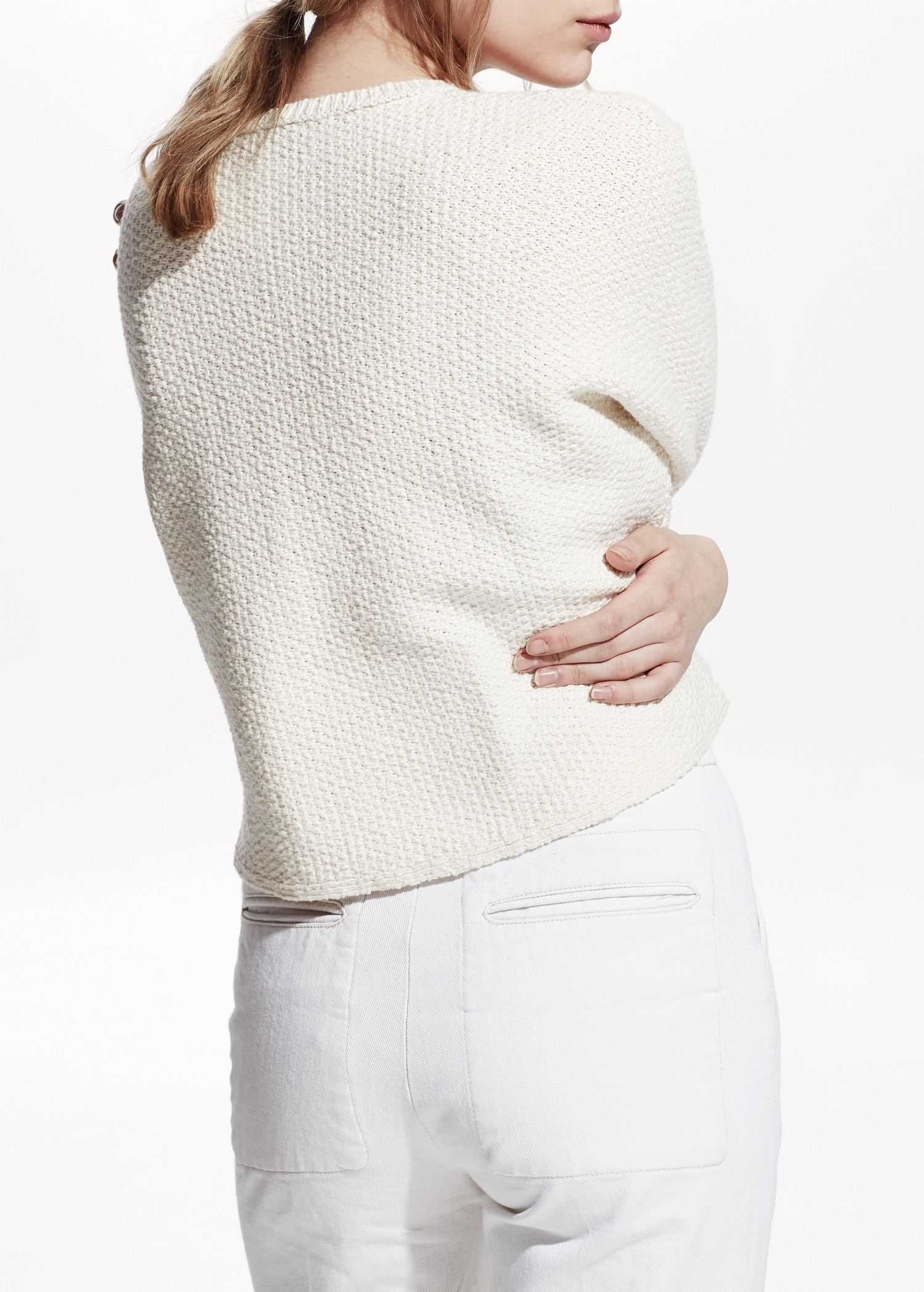 Mango Premium - Cropped Cotton Sweater in Natural | Lyst