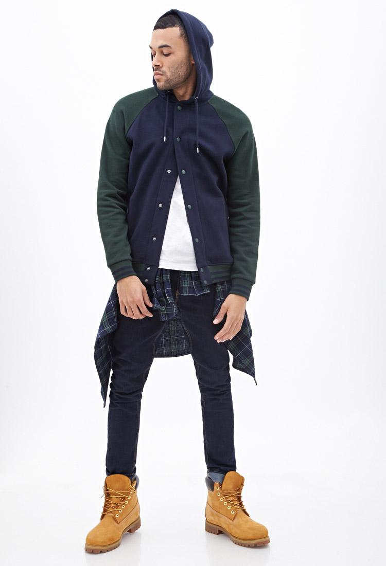 Forever 21 Hooded Varsity Jacket In Blue For Men Lyst