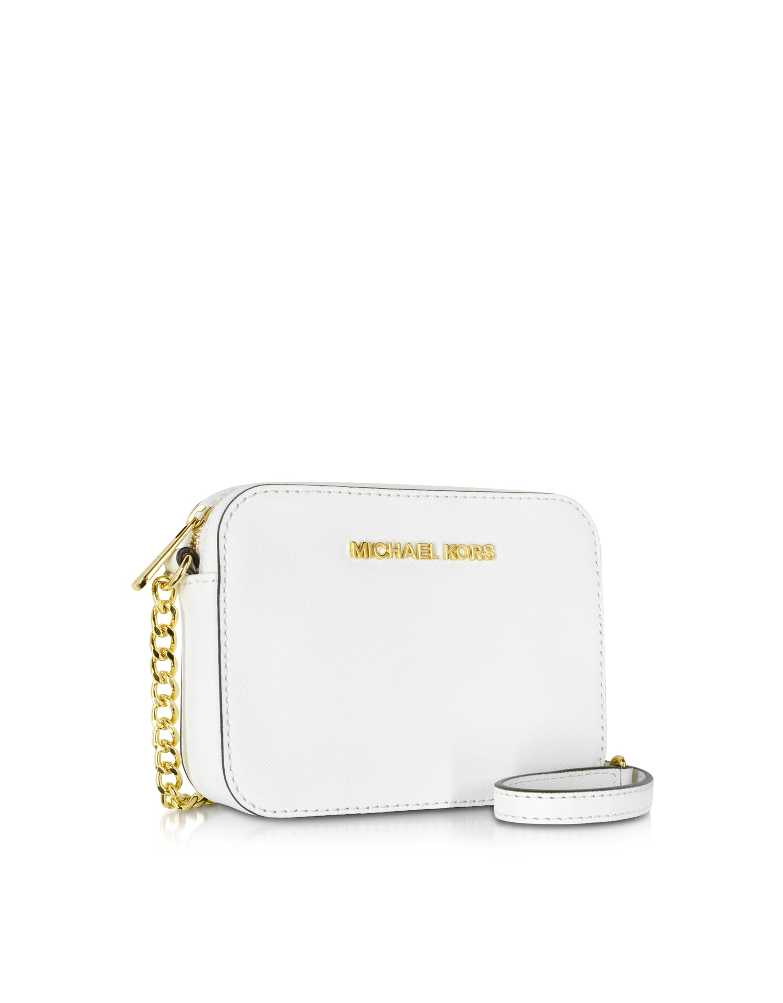 a48985bcd82396 Michael Kors Jet Set Travel Small Saffiano Leather Crossbody in White - Lyst