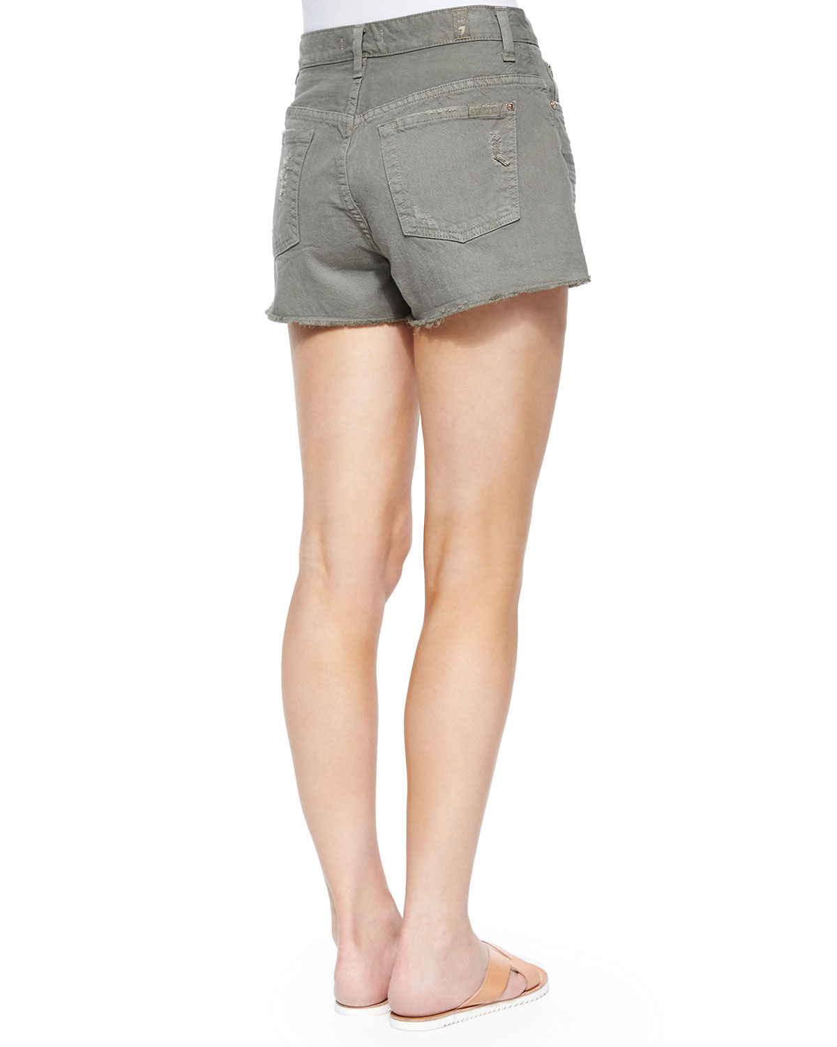 7 for all mankind cutoff denim shorts in gray lyst. Black Bedroom Furniture Sets. Home Design Ideas