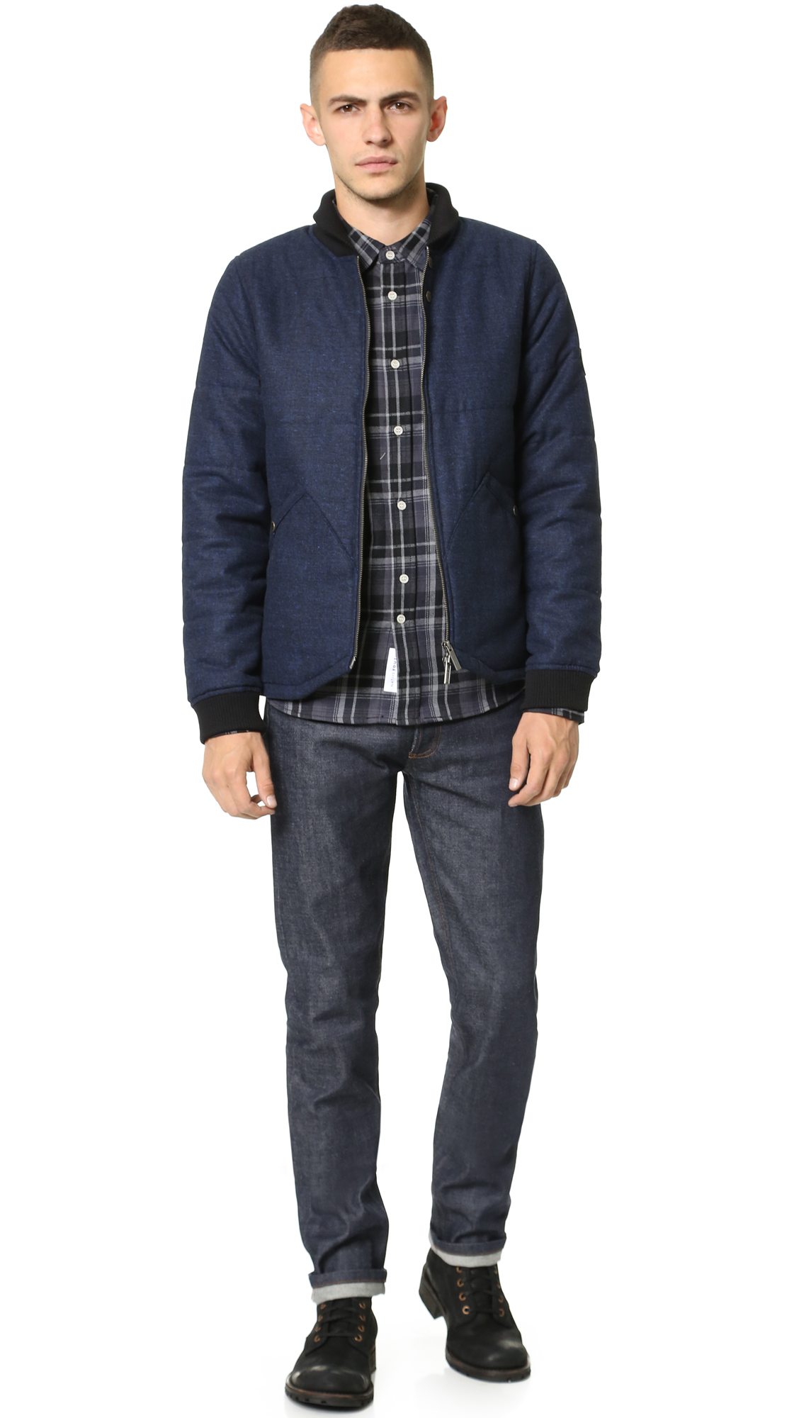 Lyst - Native Youth Knitted Point Hem Bomber Jacket in Blue for Men