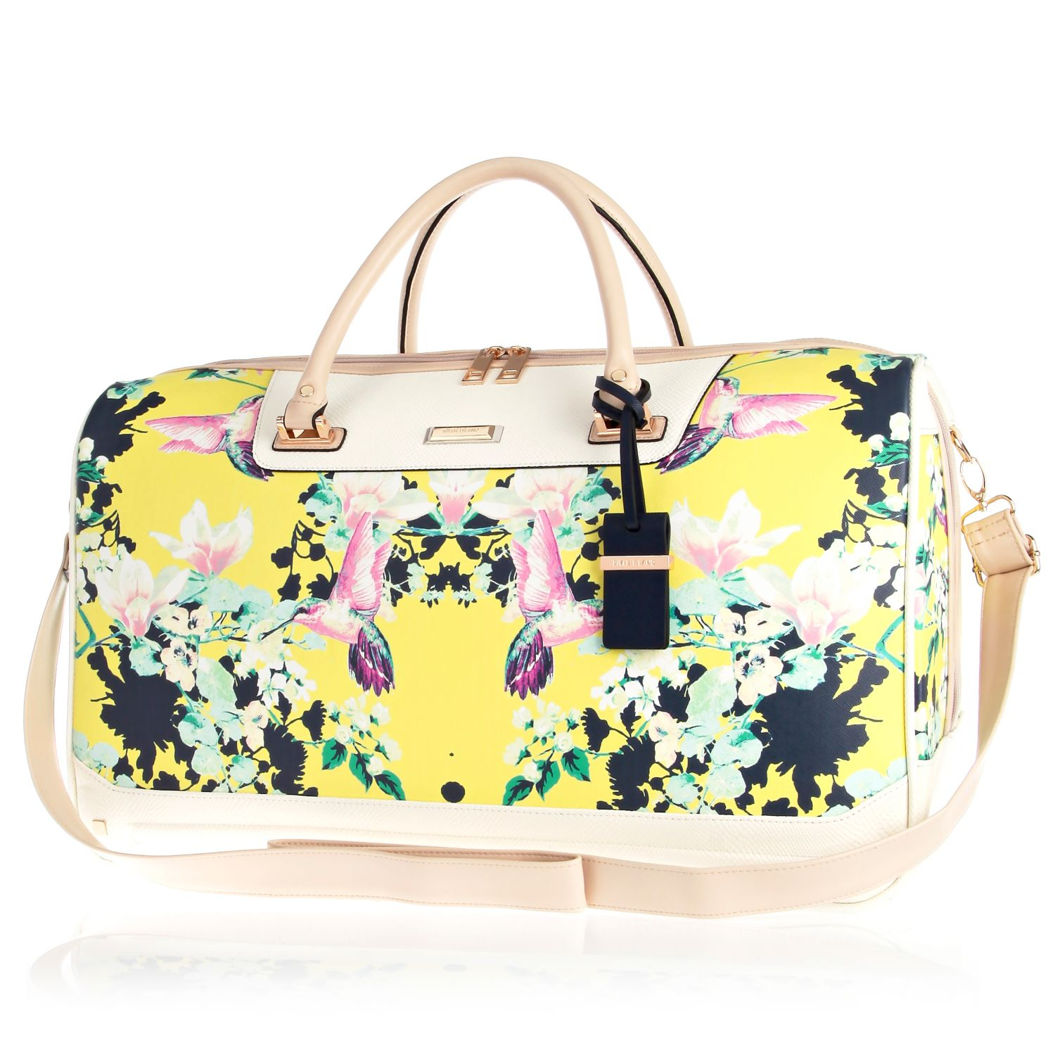River island Yellow Floral Print Weekend Bag in Yellow | Lyst