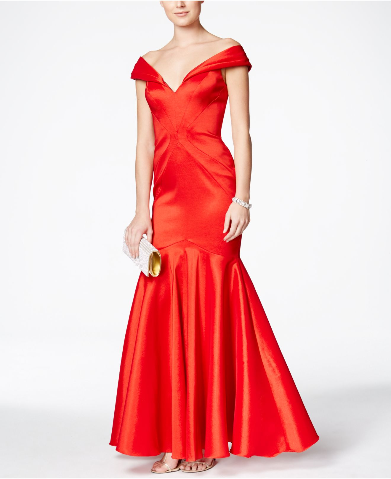 1ae435ba Xscape Off-the-shoulder Mermaid Gown in Red - Lyst