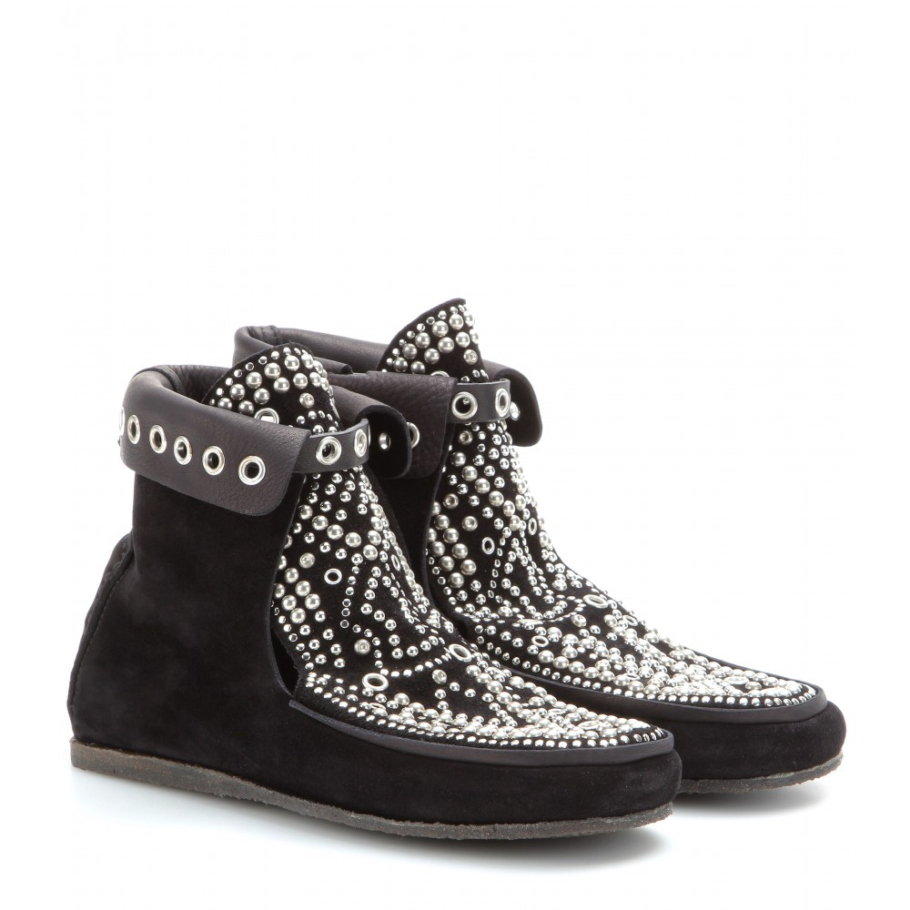 isabel marant morley studded suede moccasin boots in black lyst. Black Bedroom Furniture Sets. Home Design Ideas