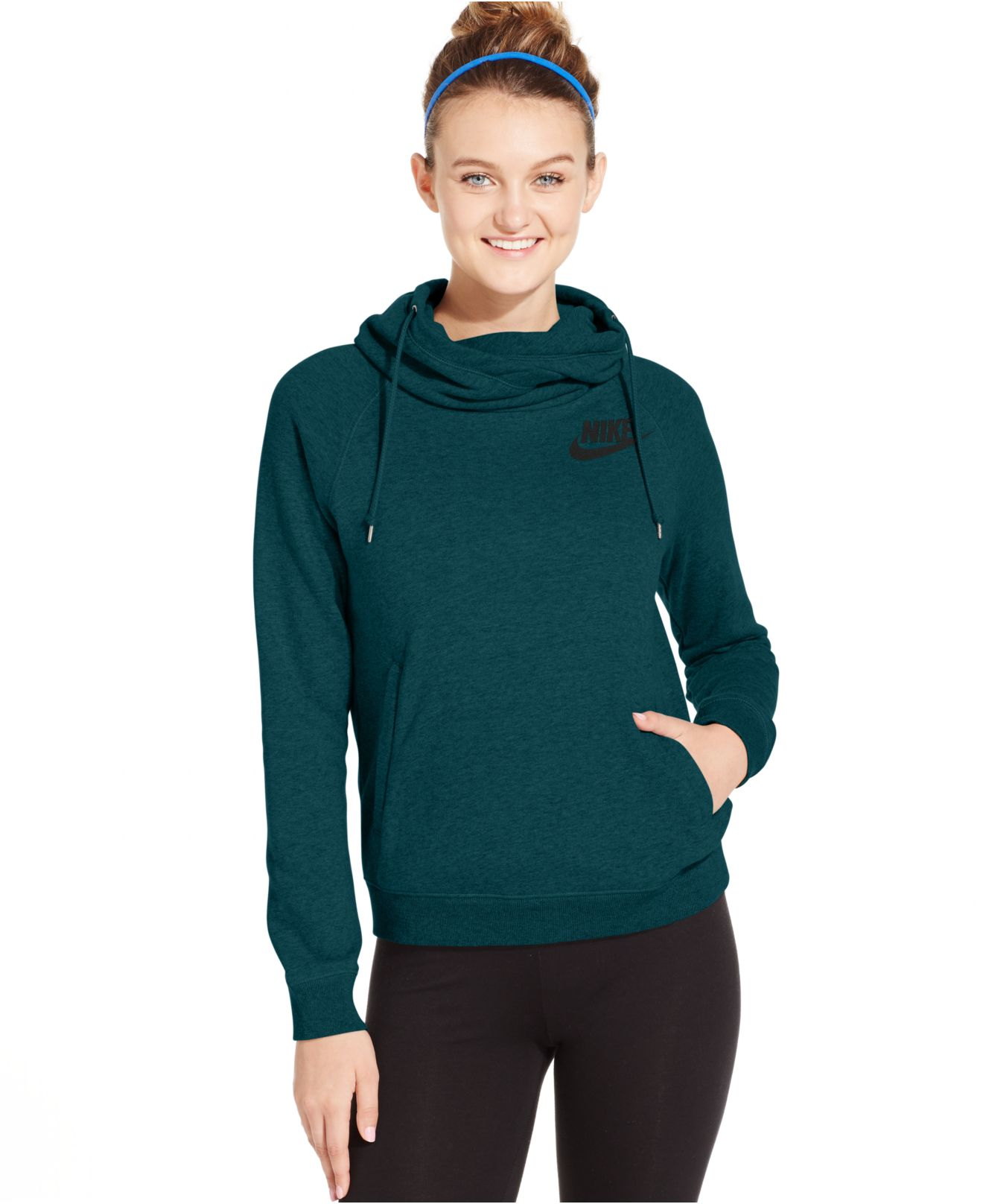 ef928b177 Nike Rally Funnel-neck Pullover Hoodie in Blue - Lyst