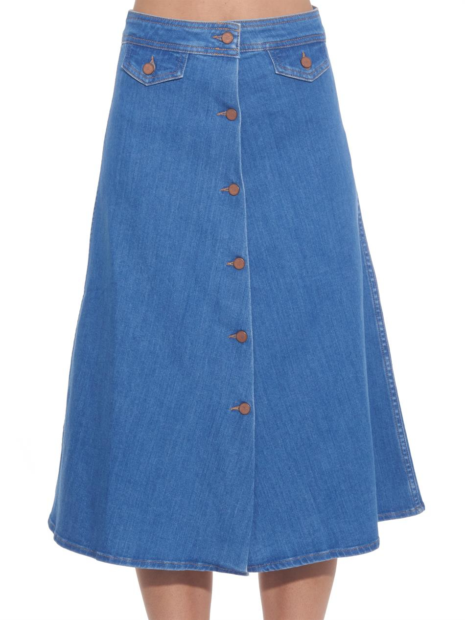 m i h the 70s a line denim skirt in blue lyst