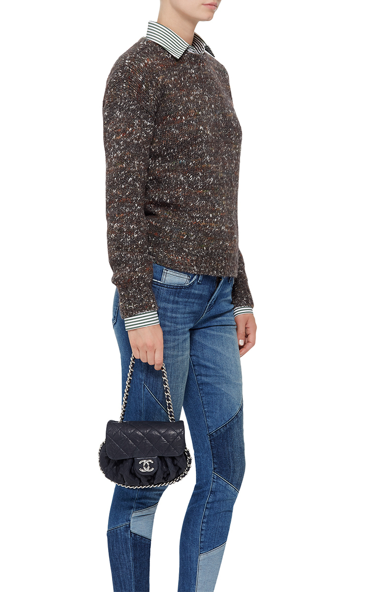 01939013e235 Madison Avenue Couture Chanel Navy Aged Lambskin Chain Around Mini ...