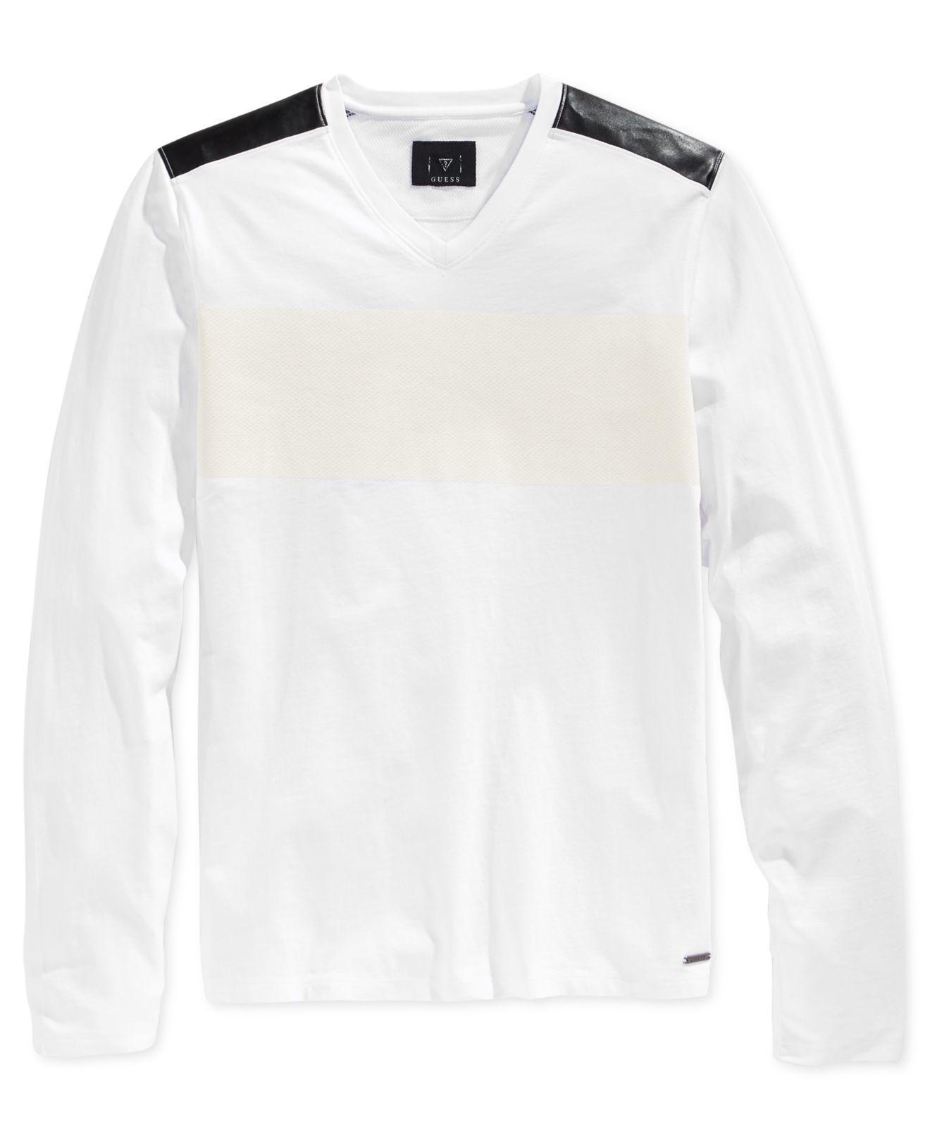 Lyst guess men 39 s stream textureblocked long sleeve v for White v neck shirt mens