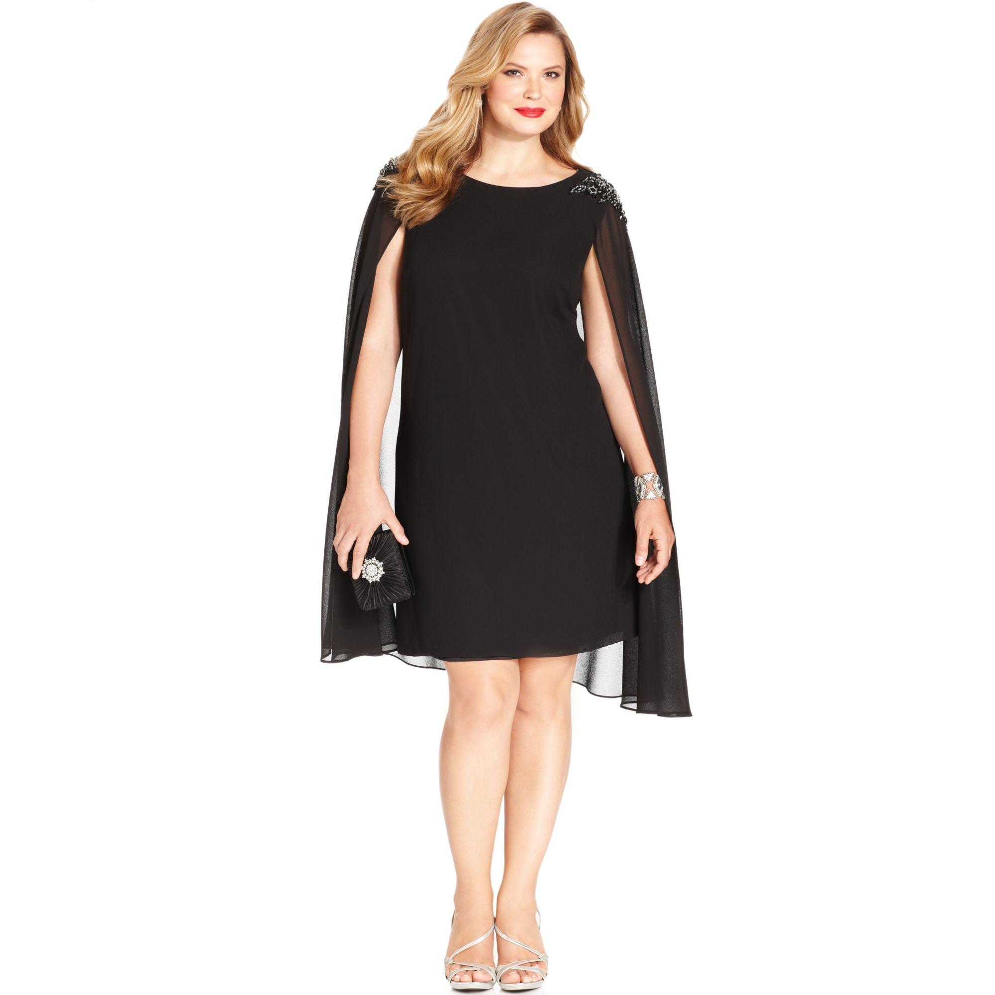 Lyst Xscape Plus Size Embellished Chiffon Capelet Dress