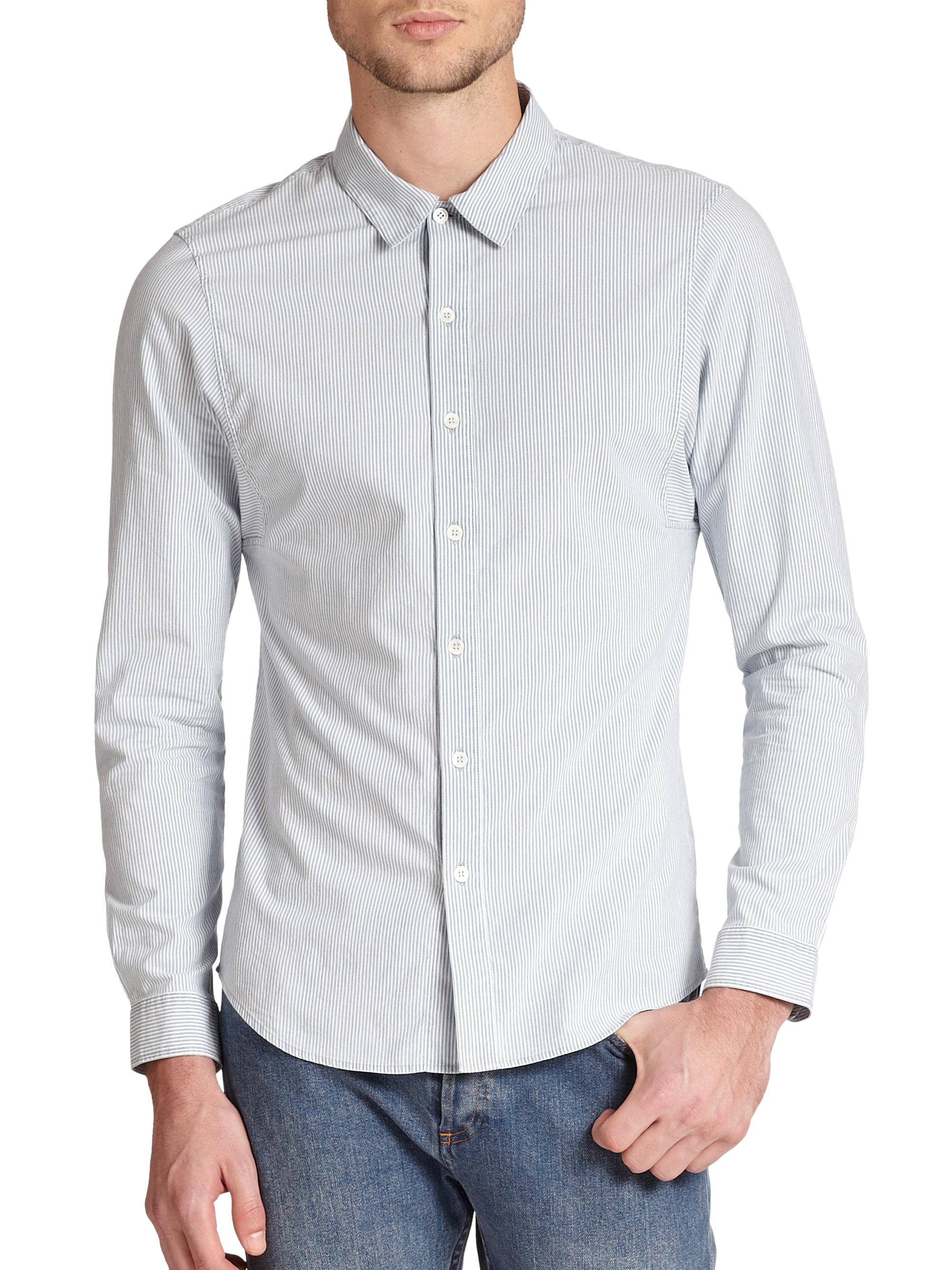 A P C Classic Slim Fit Pinstripe Cotton Sportshirt In