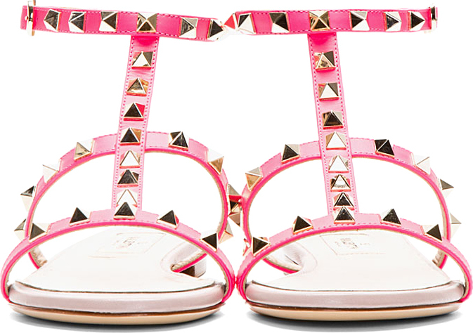 Lyst Valentino Pink Simple Rock Stud Flat Sandals In Pink
