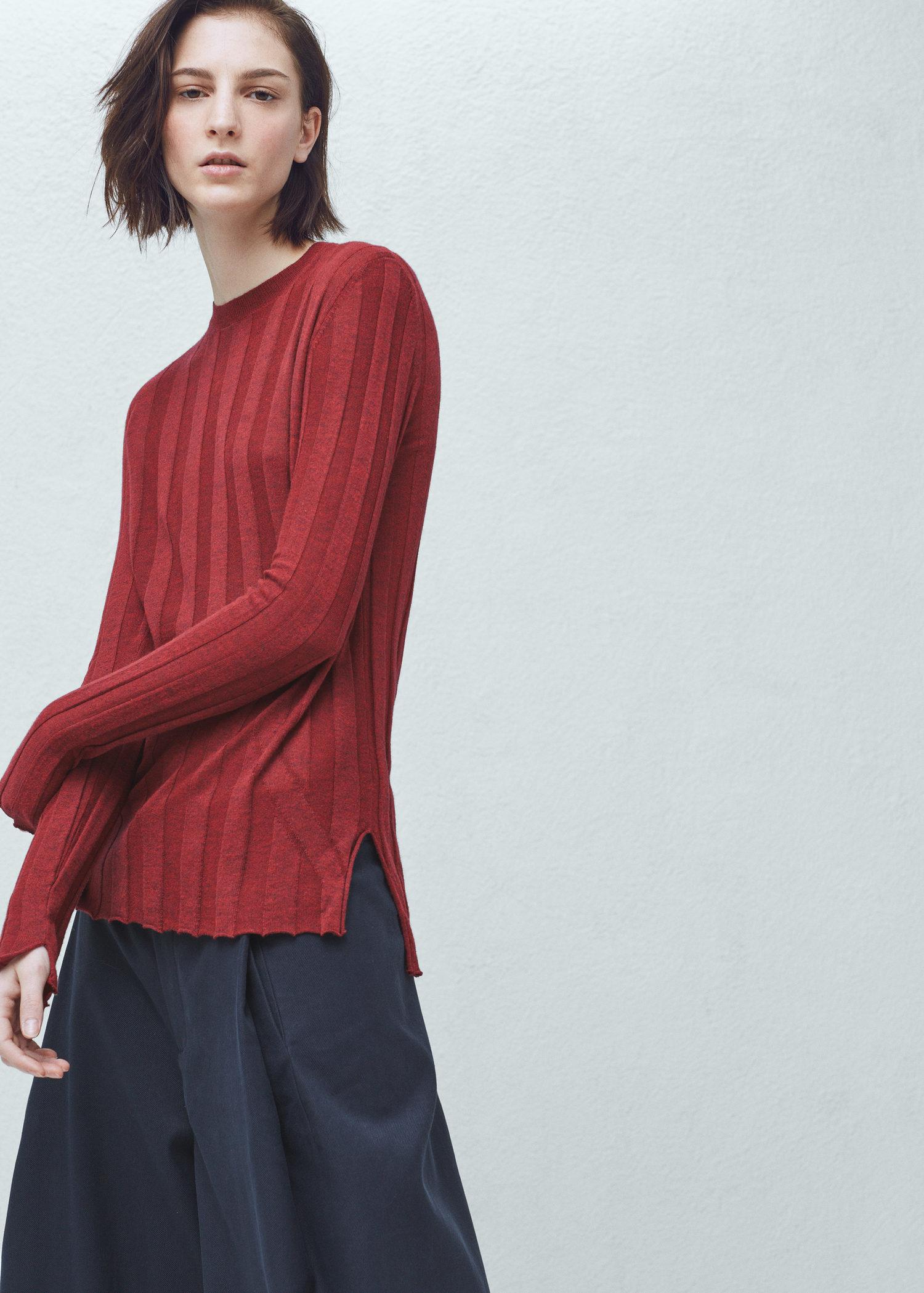 Mango Premium - Ribbed Fine-knit Sweater in Orange | Lyst