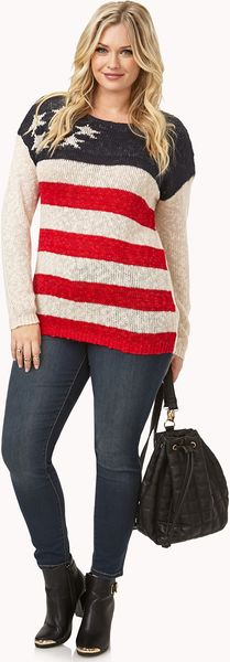 Forever 21 Americana Open Knit Sweater in Multicolor (Beige/navy)